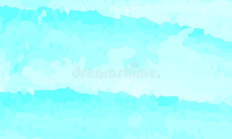 Fondo azul del extracto de la acuarela Nubes, cielo, ondas del mar Modelo del color Ilustración del vector EPS 10 stock de ilustración