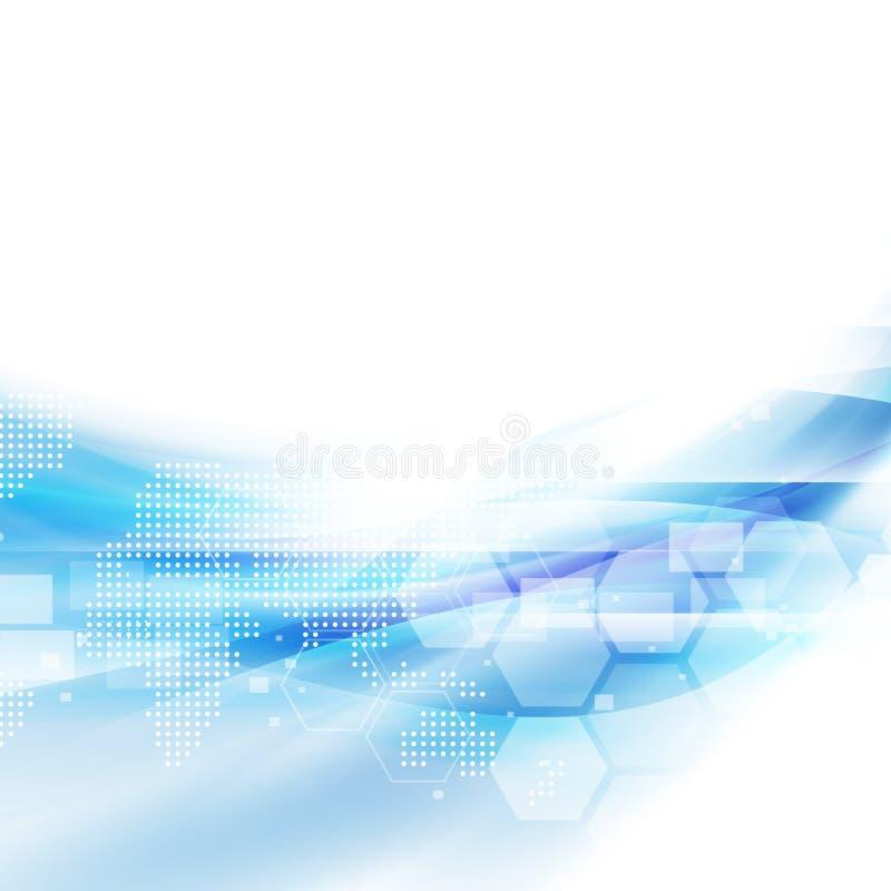 Fondo azul del flujo abstracto para la presentación del concepto de la tecnología o de la ciencia, el vector y el ejemplo stock de ilustración