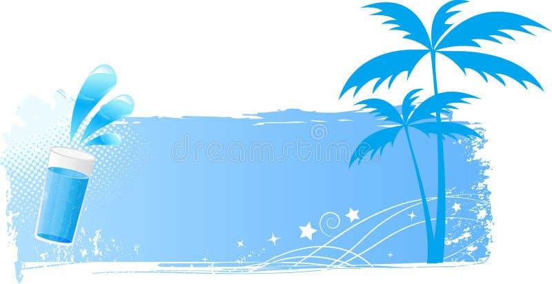 Fondo azul del grunge con las palmas y el vidrio de agua stock de ilustración