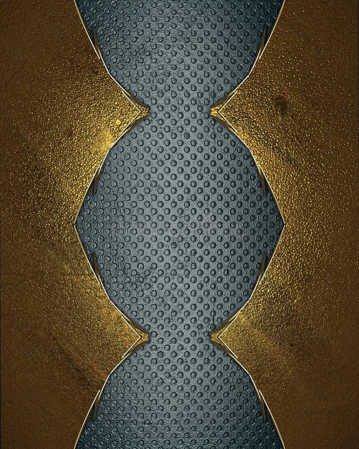 Fondo azul del Grunge con un marco del oro Plantilla para el diseño copie el espacio para el folleto del anuncio o la invitación  libre illustration