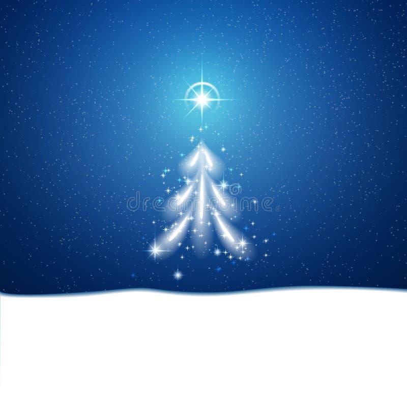 Fondo azul del invierno con la ventisca y las estrellas libre illustration