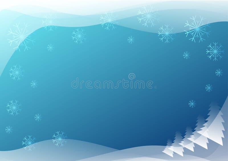 Fondo azul del invierno con los copos de nieve foto de archivo libre de regalías