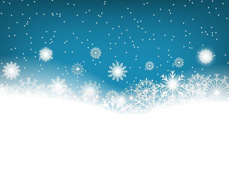 Fondo azul del invierno con los copos de nieve Decoración de la Navidad Copie el espacio para el texto Vector stock de ilustración
