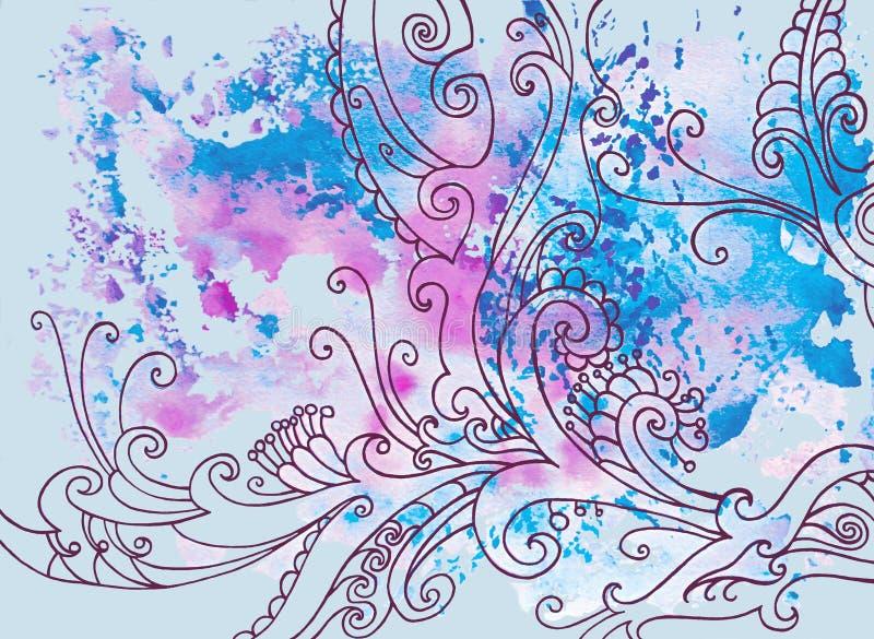 Fondo azul del invierno con los modelos y las manchas de la acuarela ilustración del vector