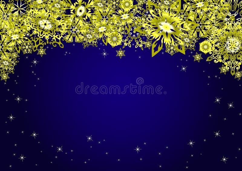 Fondo azul del marco del top de la Navidad con los copos de nieve y las estrellas del oro Ilustración del vector libre illustration