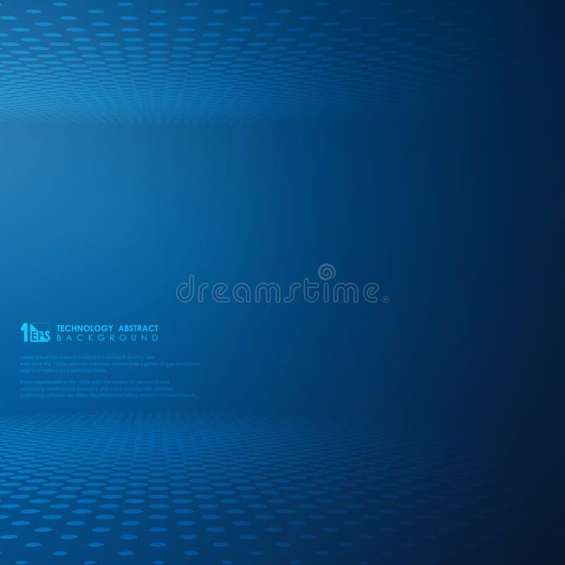 Fondo azul del modelo del círculo del punto de la pendiente futurista abstracta de la tecnología stock de ilustración