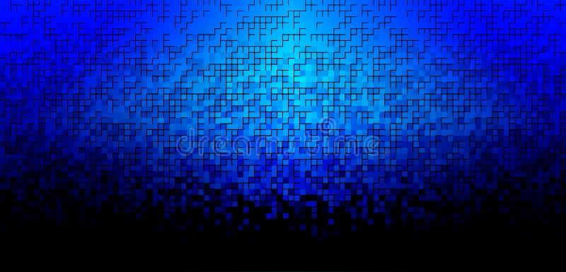 Fondo azul del mosaico con la luz en el centro stock de ilustración