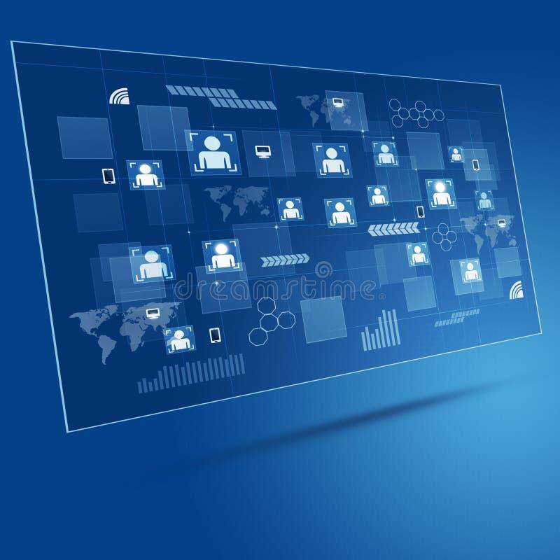Fondo azul del negocio del concepto de la tecnología ilustración del vector