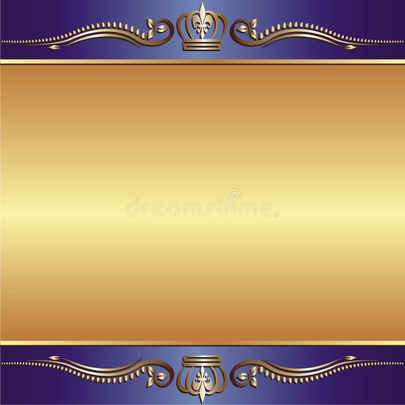 Fondo azul del oro stock de ilustración