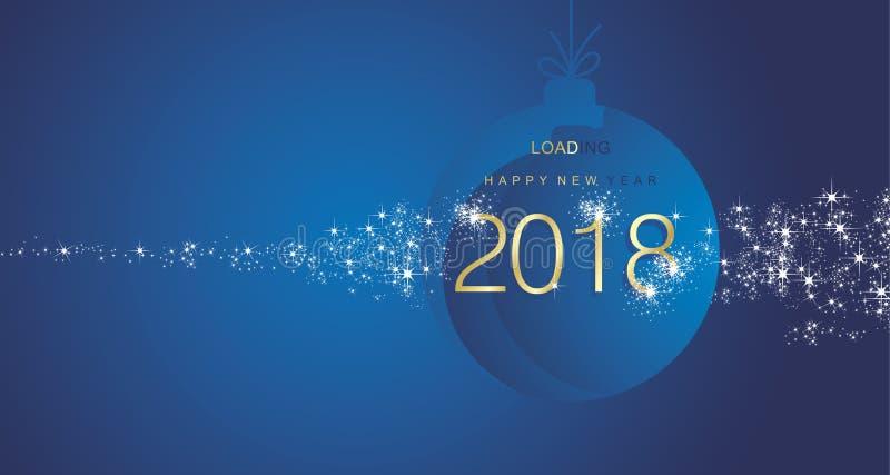 Fondo azul 2018 del paisaje de la bola del oro del fuego artificial de la Feliz Año Nuevo libre illustration