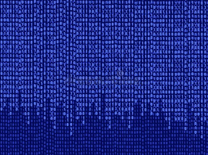 Fondo azul del software del vector, papel pintado de las matrices-dato, números descendentes ilustración del vector