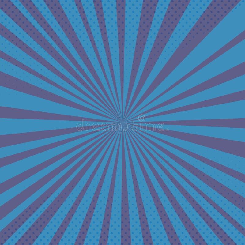Fondo azul del vector con los rayos y los tonos medios de los tebeos foto de archivo