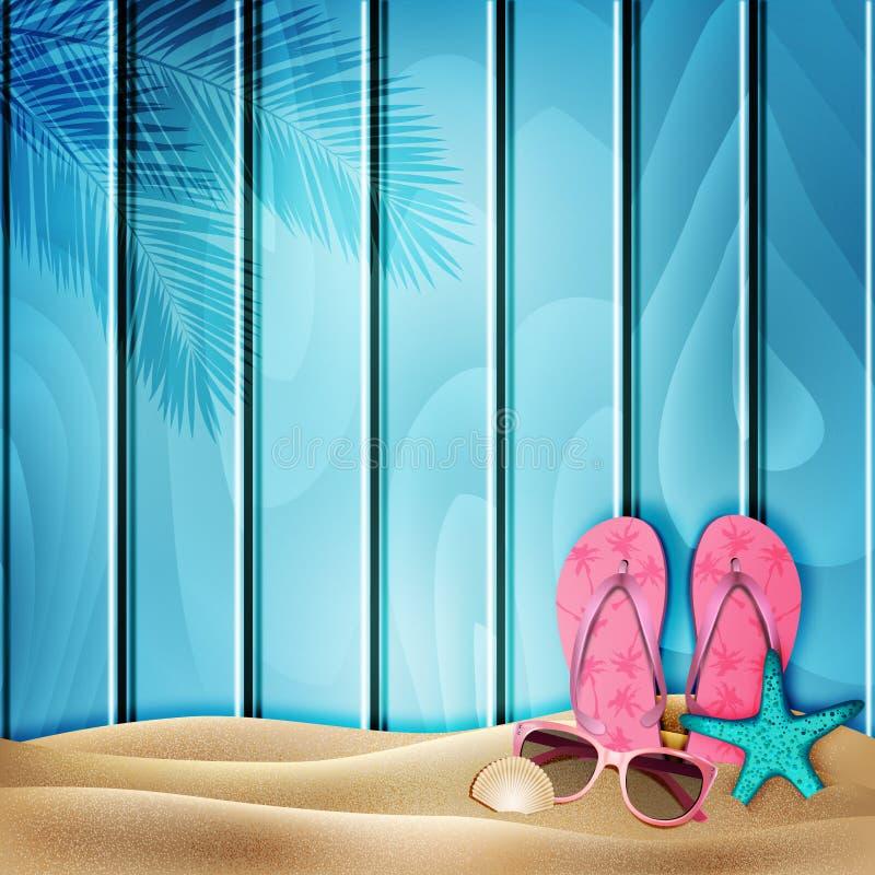 Fondo azul del verano con los elementos de la playa en arena Vector stock de ilustración