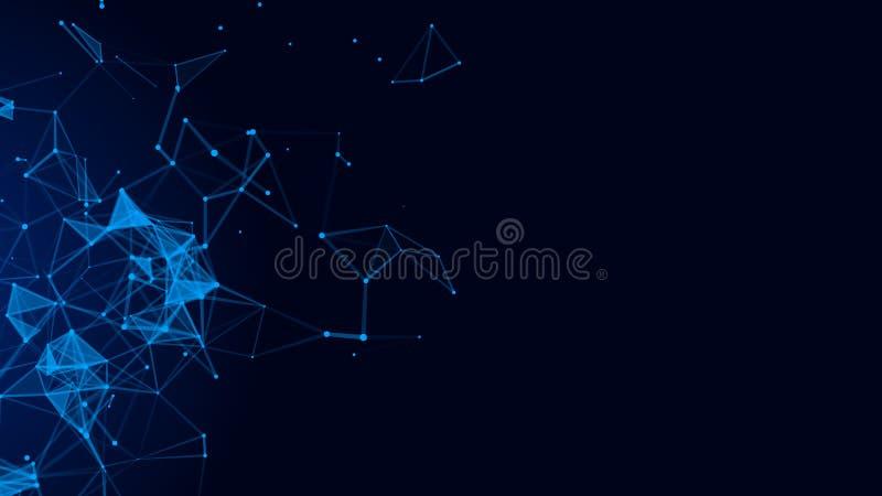 Fondo azul digital abstracto Dots And Lines de conexi?n Conexi?n de red Fondo de la ciencia representaci?n 3d stock de ilustración