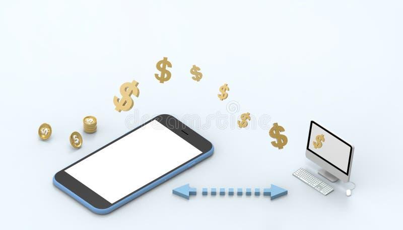Fondo azul en colores pastel en línea del ordenador y del dinero de la aplicación móvil del concepto del márketing de Digitaces d stock de ilustración