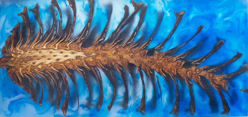 Fondo azul estabilizador de lanzamiento de arte abstracto del cono del pino de la resina de epoxy, textura de un de madera fotografía de archivo libre de regalías