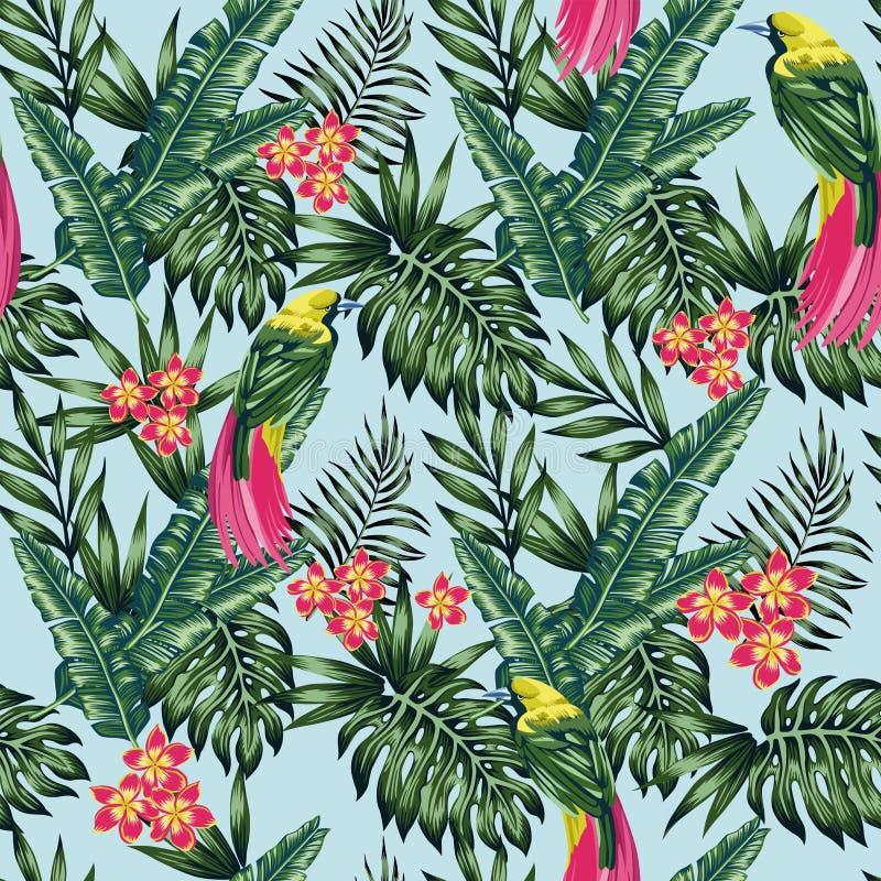 Fondo azul exótico de las flores y de las hojas de la selva de los pájaros inconsútil stock de ilustración