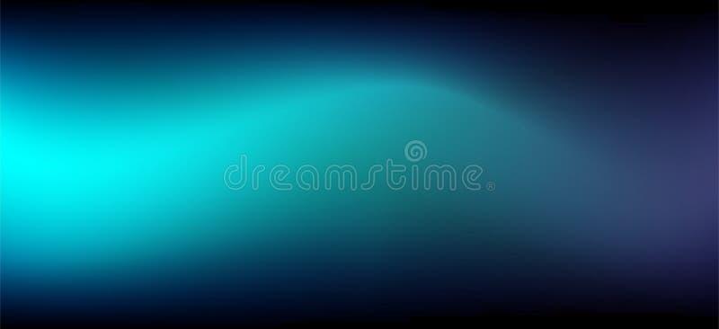 Fondo azul fresco del extracto del vector del movimiento en la base negra oscura, rastro ligero stock de ilustración