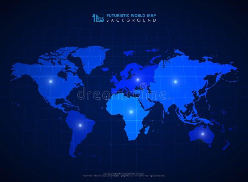 Fondo azul futurista del mapa del mundo de la tecnolog?a Vector eps10 del ejemplo libre illustration