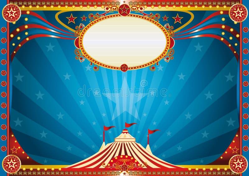 Fondo azul horizontal del circo ilustración del vector