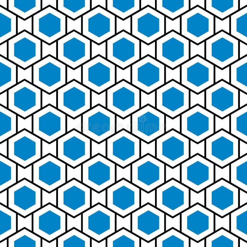 Fondo azul inconsútil de la rejilla de la colmena de los hexágonos stock de ilustración