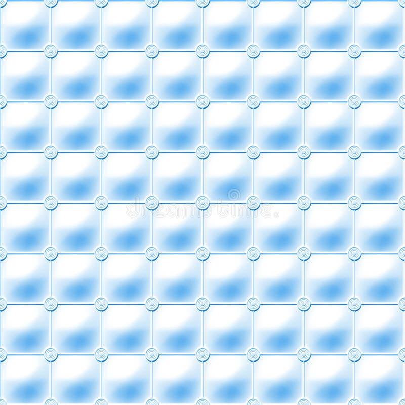 Fondo azul inconsútil hecho de una rejilla regular de las esferas conectadas que enmarcan un modelo suave de la tapicería stock de ilustración