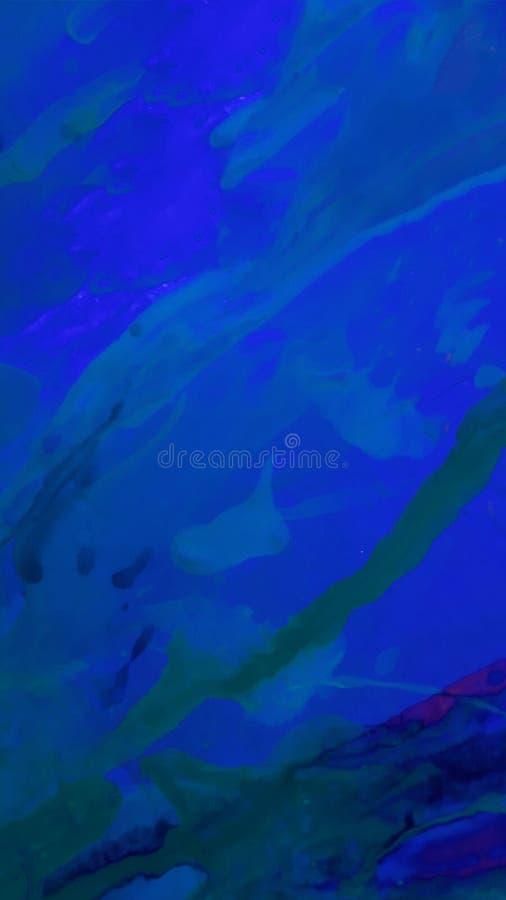 Fondo azul marino abstracto de los movimientos del cepillo con la pintura acrílica Divorcios líquidos verticales stock de ilustración