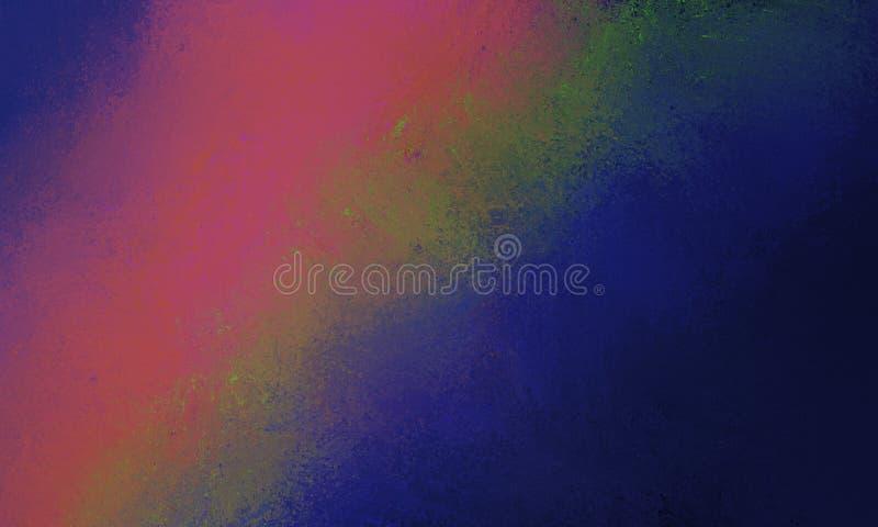 Fondo azul marino con diseño diagonal abstracto verde y anaranjado rosado de la raya con las porciones de textura stock de ilustración