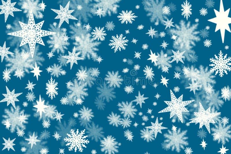 Fondo azul marino de la Navidad con porciones de escamas de la nieve y de st ilustración del vector