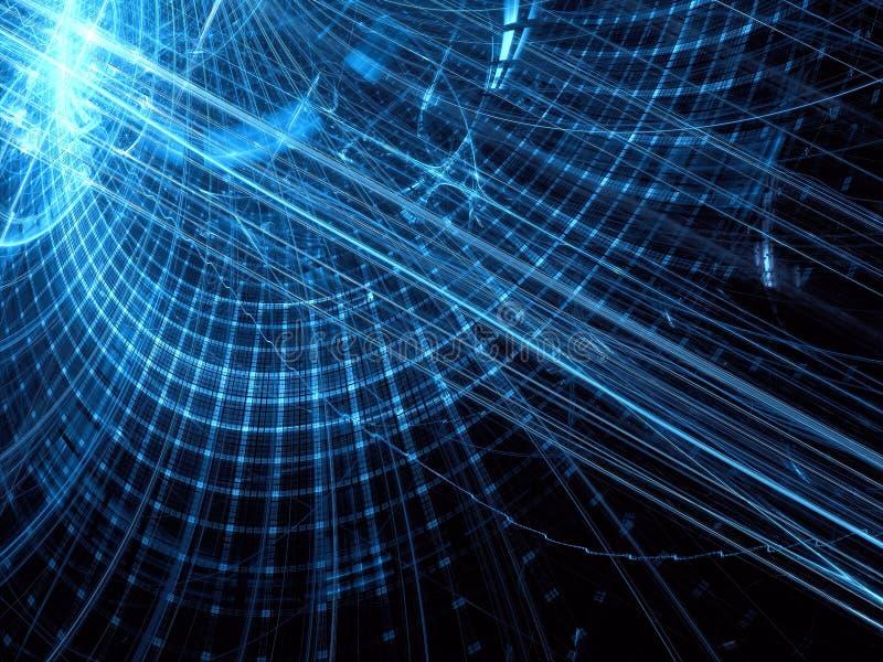 Fondo azul marino de la tecnología con las curvas y la rejilla - extracto digital libre illustration