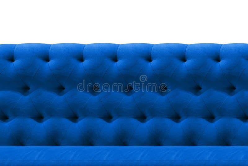 Fondo azul marino de lujo del modelo del primer del amortiguador del terciopelo del sofá en blanco imagen de archivo libre de regalías