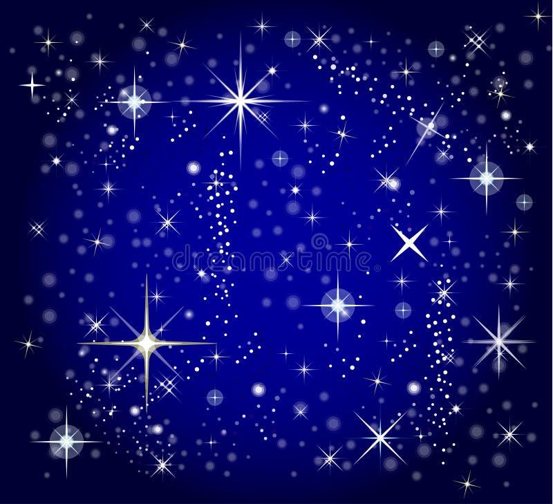 Fondo azul marino del cielo y de la estrella ilustración del vector