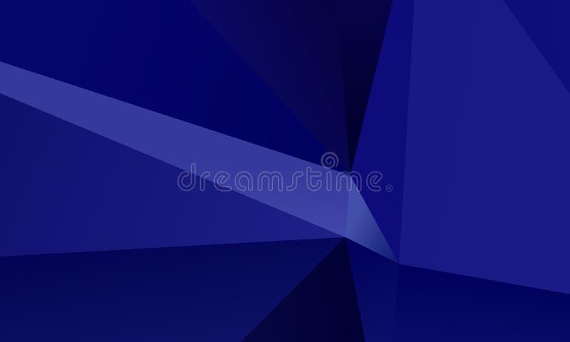 Fondo azul marino del polígono con los triángulos de diverso modelo geométrico de la forma y del tamaño, contexto stock de ilustración