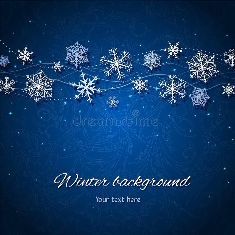 Fondo azul marino del vector del invierno stock de ilustración
