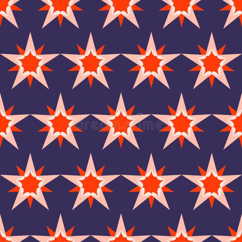 Fondo azul marino hermoso con las estrellas rojas Modelo incons?til del d?a de fiesta Ornamento para el papel de envoltorio para  libre illustration