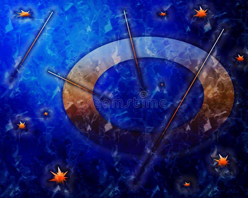 Fondo azul marino hermoso, profundo con las estrellas y reloj stock de ilustración