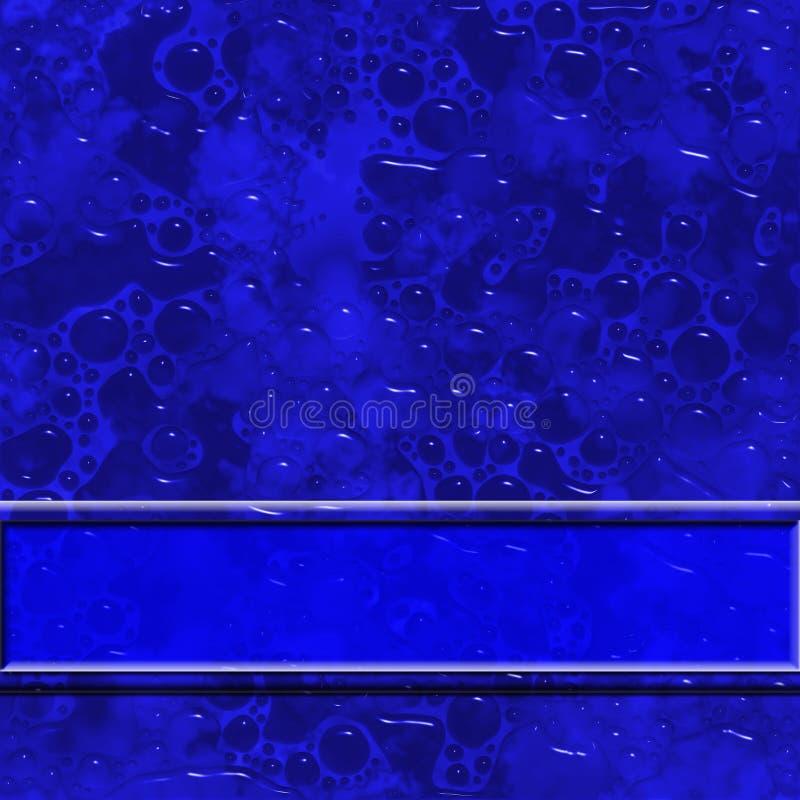 Fondo azul oscuro abstracto con textura. Gotas de agua y banderas transparentes fotografía de archivo