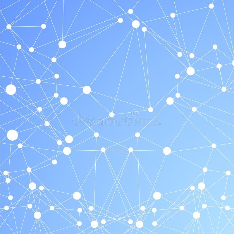 Fondo azul poligonal. Conexión molecular abstracta ilustración del vector
