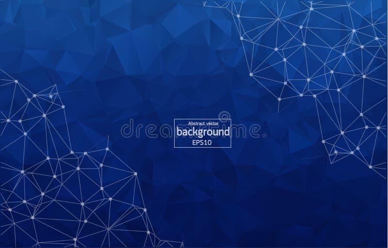 Fondo azul poligonal del extracto con los puntos y las líneas conectados, estructura de la conexión, fondo futurista del hud, ill stock de ilustración