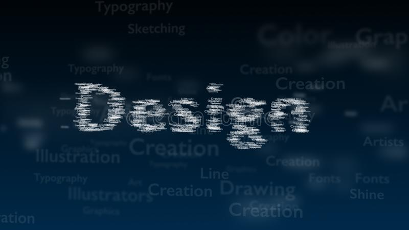 Fondo azul profundo con diversas palabras, que se ocupan de diseño Tipo borroso estupendo El diseño contiene un extenso de palabr stock de ilustración