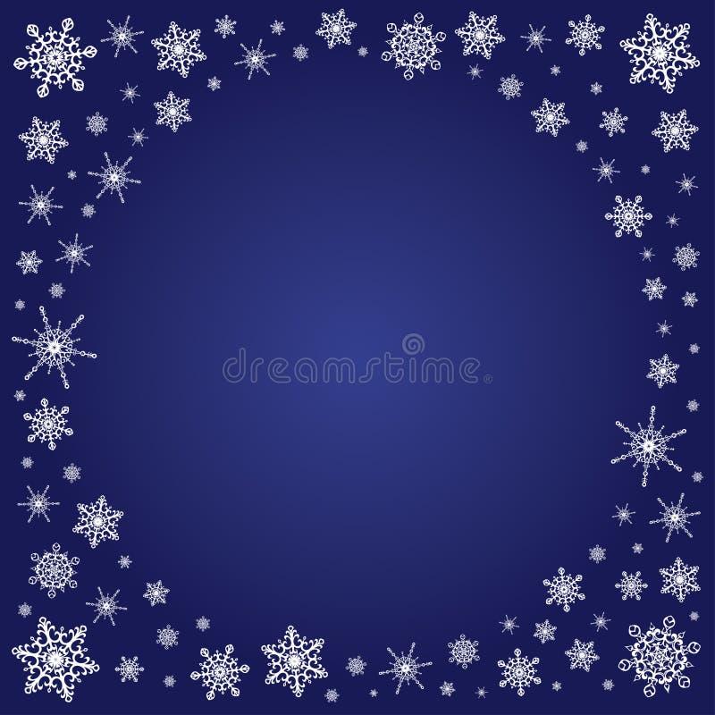 Fondo Azul Profundo Cuadrado Con El Marco De Los Copos De Nieve ...