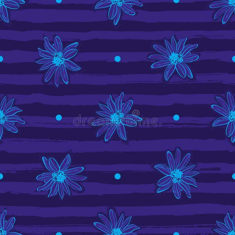 Fondo azul rayado de moda inconsútil del estampado de plores, flor a mano elegante Estampado de flores para la moda y libre illustration