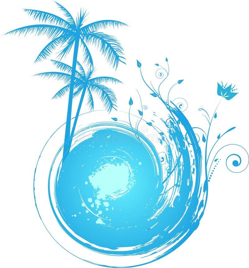 Fondo azul redondo del grunge con la palma libre illustration