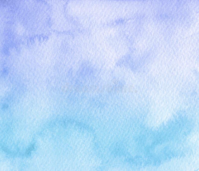 Fondo azul suave pintado a mano de la textura de la acuarela Usable para stock de ilustración