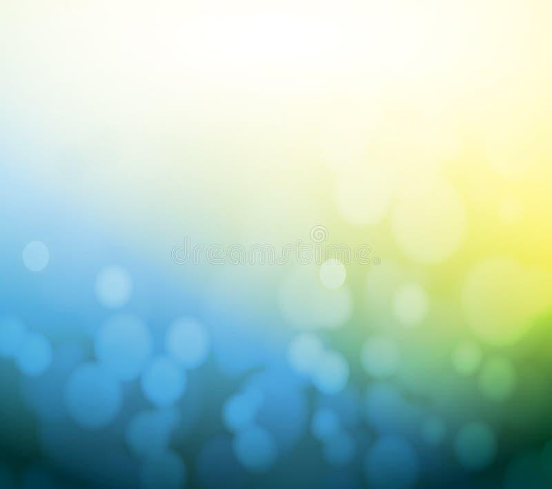 Fondo azul y amarillo de la luz del extracto del bokeh. libre illustration