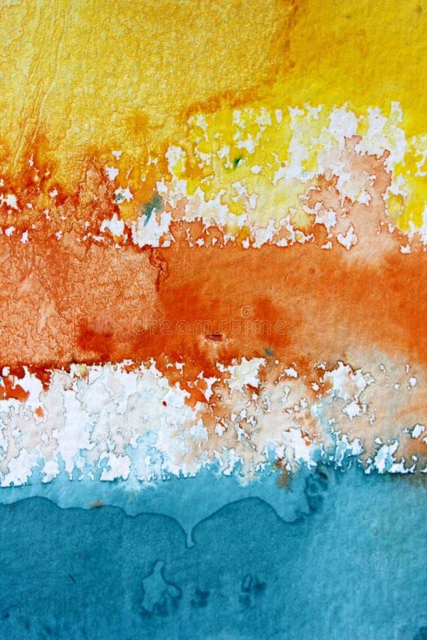 Fondo azul y blanco amarillo-naranja macro 2 del Watercolour fotografía de archivo