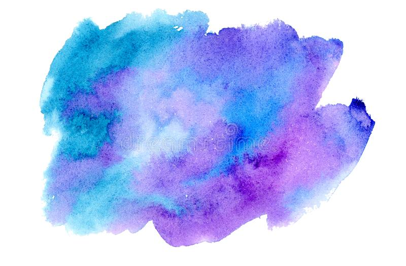 Fondo azul y violeta de la acuarela ilustración del vector