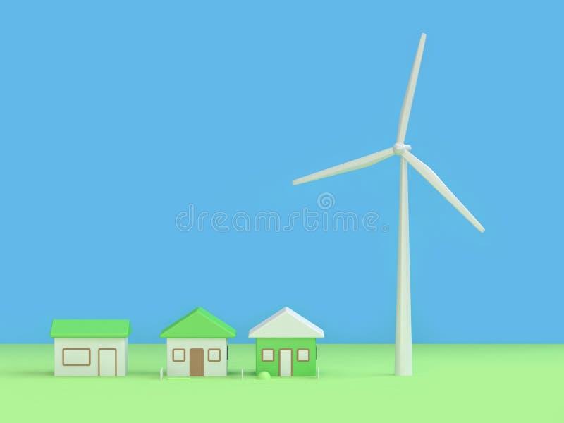 Fondo azulverde 3d del extracto de la casa de la turbina de viento rendir, concepto de la tierra de la reserva del ambiente de la stock de ilustración
