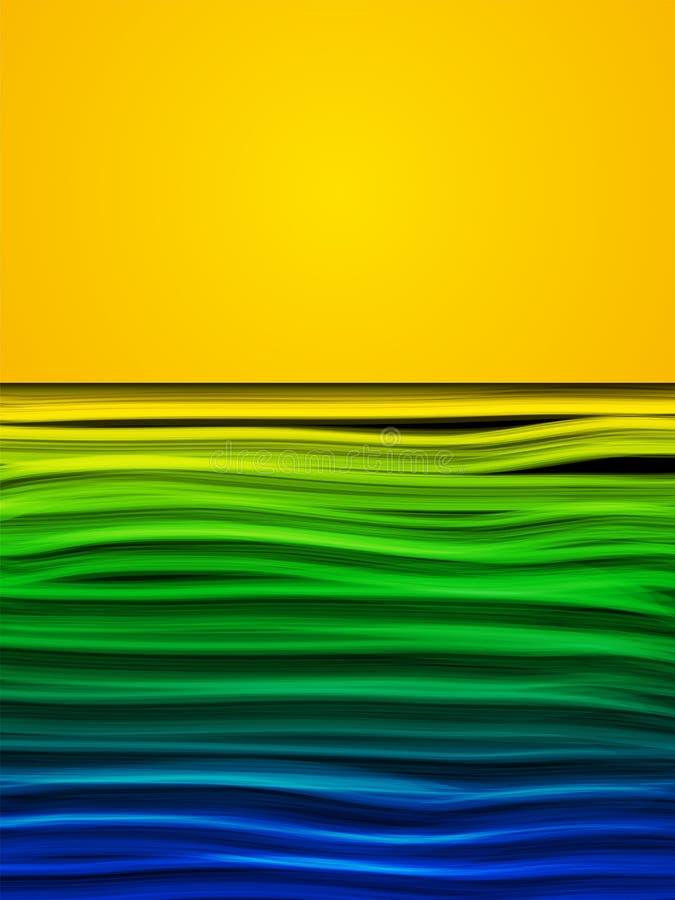 Fondo azulverde del amarillo de la onda de la bandera del Brasil stock de ilustración