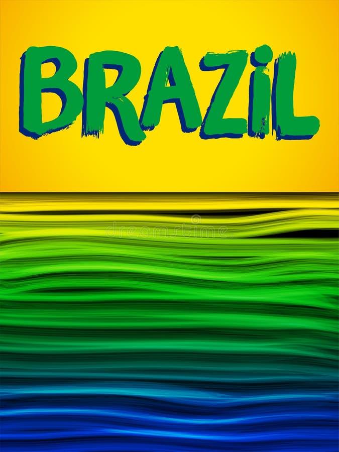 Fondo azulverde del amarillo de la onda de la bandera del Brasil libre illustration